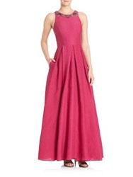 Marchesa Pleated Silk Blend A Line Gown Fuchsia
