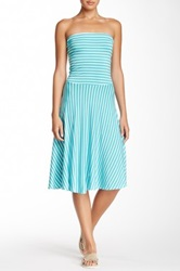 Felicity And Coco Strapless Twisted Back Skater Dress Blue
