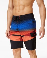 Speedo Men's Scenic Print Crosscut Swim Trunks Black Red