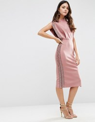 Asos Embellished Trim Open Top Midi Bodycon Dress Dusky Pink