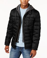 Buffalo David Bitton Men's Quilted Hooded Puffer Coat Black