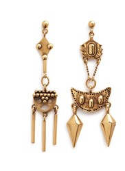 Chloe 'Layton' Asymmetric Pendant Drop Earrings Metallic