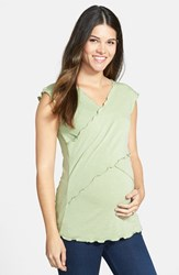 Women's Japanese Weekend Maternity Cross Front Nursing Top Kiwi