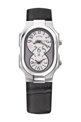 Philip Stein Teslar Men's Large Signature Dual Time Croc Embossed Leather Strap Watch Gray