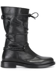 Diesel Black Gold Wrapped Stripe Boots Black