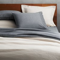 Cb2 Weekendr Ivory Chambray Full Queen Duvet Cover