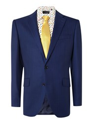 New And Lingwood Anderby Herringbone Tailored Fit Jacket Blue