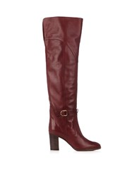 Chloe Lenny Leather Knee High Boots Burgundy