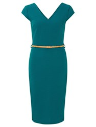 Sugarhill Boutique Kirsty Fitted Shift Dress Blue Teal