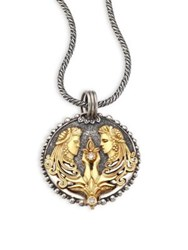 Konstantino Zodiac 18K Gold Sterling Silver And Diamond Pendant Silver Gold