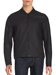 Michael Kors Long Sleeve Leather Jacket Black