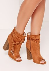 Missguided Rouched Wrap Around Peep Toe Ankle Boots Tan Brown