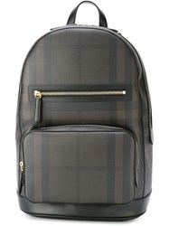 Burberry Check Print Backpack Brown