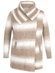 Chesca Ombre Knitted Wrap Cardigan Beige Ivory