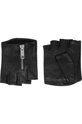 Karl Lagerfeld Zipped Fingerless Leather Gloves Black