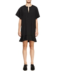 Proenza Schouler Short Sleeve Peplum Hem Dress Black