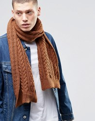 Asos Wool Mix Cable Scarf In Tobacco Tobacco Tan