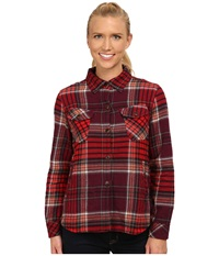 Woolrich Oxbow Bend Shirt Jac Fig Multi Women's Long Sleeve Button Up Red