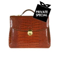 L.A.P.A. Cognac Croco Embossed Double Gusset Briefcase