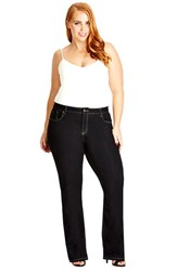 Plus Size Women's City Chic 'Glam' Stretch Bootcut Jeans Dark Denim