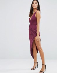 Ax Paris Asymmetric Maxi Dress In Slinky Plum Purple