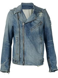 Balmain Biker Denim Jacket Blue