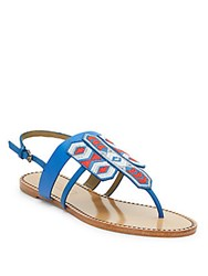 Cynthia Vincent Fairfax Embroidered Leather Sandals Blue