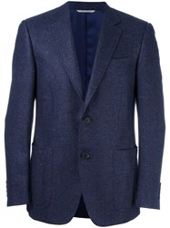 Canali Woven Single Breasted Blazer Blue