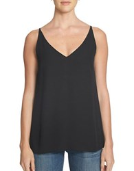 1.State Spaghetti Strap V Neck Blouse Rich Black