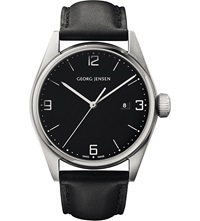 Georg Jensen Delta Stainless Steel And Leather Watch 42Mm