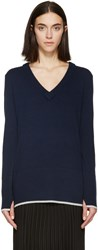 Rag And Bone Navy V Neck Flavia Sweater