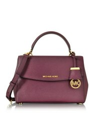Michael Kors Ava Small Plum Saffiano Leather Satchel Bag