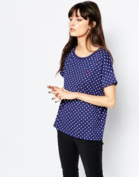 Fred Perry Polka Dot T Shirt Navy
