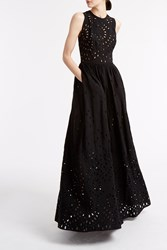 Elie Saab Broderie Contrast Dress Black