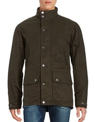 Black Brown Cotton Blend Zip Front Jacket Dark Olive