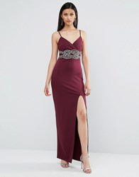 Tfnc Embellished Detail Strappy Maxi Dress Burgundy Red