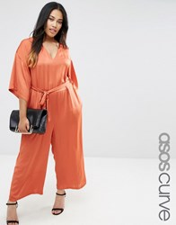 Asos Curve Belted Jumpsuit With Kimono Sleeve Rust Orange