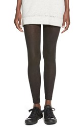 Angie Perforated Faux Suede Leggings Black