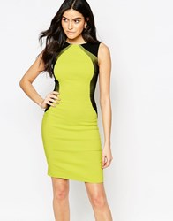 Vesper Crystal Bodycon Dress With Contrast Side Panels Lime Green