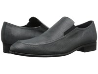 Calvin Klein Varro Dark Grey Textured Leather Men's Slip On Dress Shoes Gray
