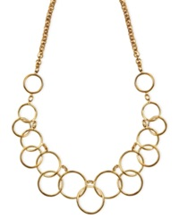 Nine West Necklace Gold Tone Circle Frontal Necklace