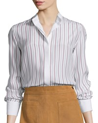 Frame Denim Le Classic Button Front Striped Blouse Navy Red Stripe