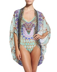 Camilla Open Front Printed Cardigan Cape Coverup Sarayi