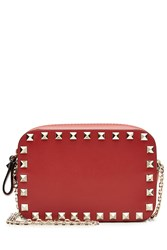 Valentino Small Leather Rockstud Shoulder Bag Red