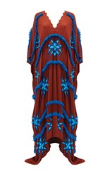 Mochi Aveda Embroidered Maxi Kaftan Brown