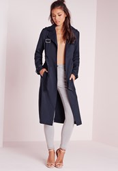 Missguided Military Trench Coat Navy Grey