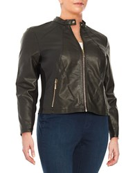 Ivanka Trump Plus Faux Leather Bomber Jacket Black