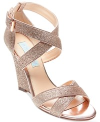 Blue By Betsey Johnson Cherl Wedge Sandals Women's Shoes Champagne Glitter