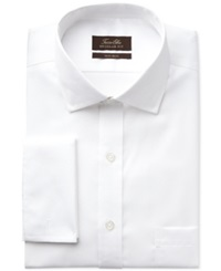 Tasso Elba Non Iron White Diamond Textured French Cuff Shirt Wht Mcro D