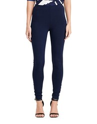 Lauren Ralph Lauren Hiseina Lace Up Ponte Leggings Navy